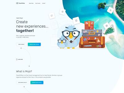 TripwithMojo illustration travel app grouptravel travel webdesign minimal website ux ui