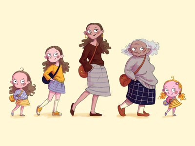 Sketch - female characters of different ages. old adult young old lady woman girl baby 2d art photoshop art female photoshop artwork character cartoon character cartoon illustration digital illustration art