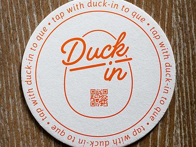 DuckIn QR Code Coaster orange line queue paper print vector egg coaster qr