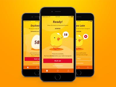 DuckIn Screens orange mobile app egg digital queue nfc duck
