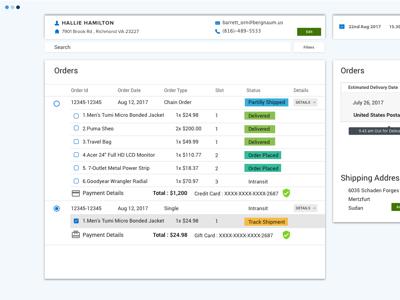 Crm Dashboard 2 ios flat app ux ui shipping details order status reorder cancel dashboard order history crm