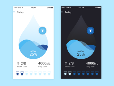 Water Tracking app data ios light dark theme blue fitness health tracking dashboard drop water