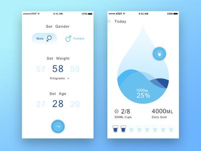 water tracking light theme settingscreen water tracking ios health fitness drop data dashboard lighttheme blue