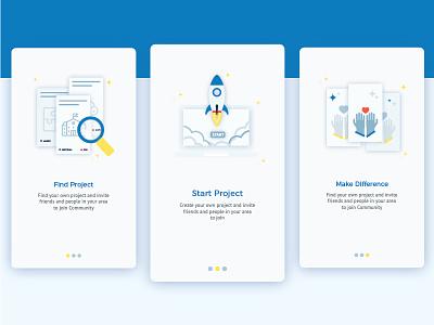 Walkthroughscreen charity launch search cleandesign illlustration mobileapp dessign ui features walkthrough