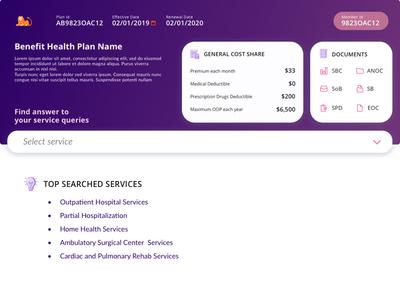 Health Plan - detail page search box webapplication design health data dashboard