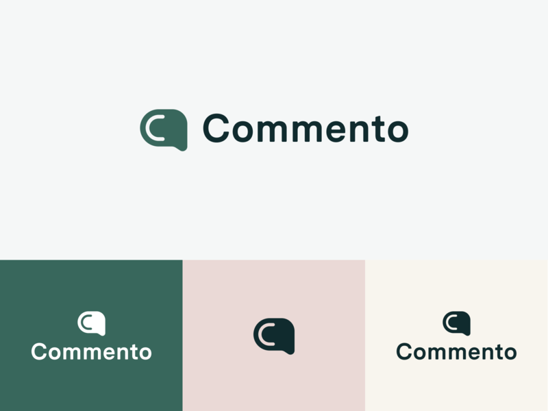 Commento Logo: Concept product green logo green feedback comment logo design grid typography icon vector logo branding