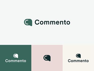 Commento Logo: Concept product green logo green feedback comment logo design grid typography icon vector logo branding