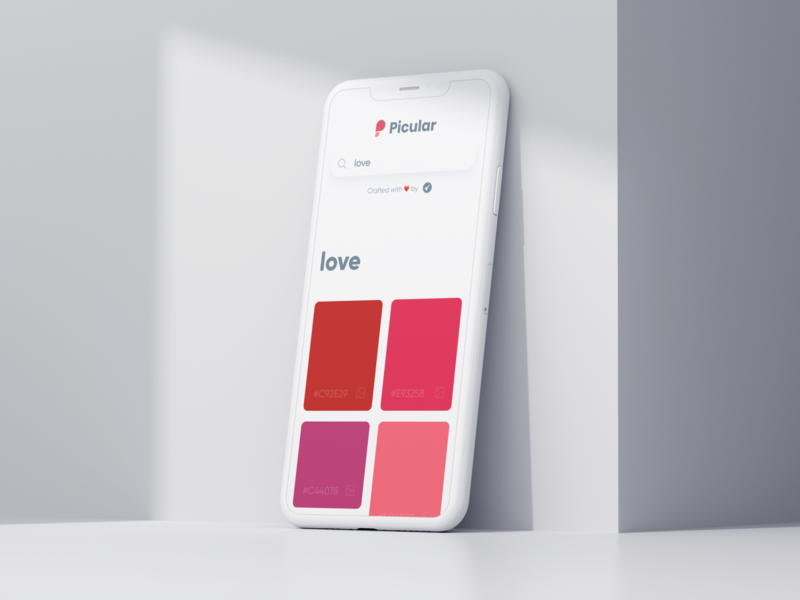 Picular: Love ❤️ design red tool branding ui palette color iphone minimal mobile web love