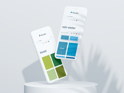 Picular: Forest & Water 🌲💧 design tool palette colors mobile desktop web web app iphone minimal branding app blue green water forest