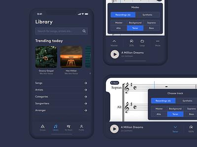 WAV – Library & Player dark app ui library minimal music player dark ui mobile app