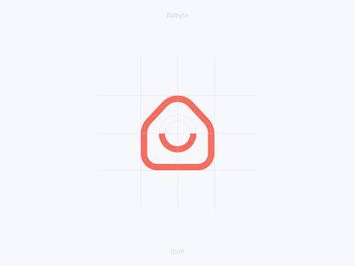 Bobyte – Icon Construction branding rental smile house grid process logo logomark bobyte icon