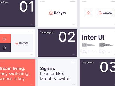 Bobyte – Brandbook font typography vector branding house rental colors bobyte identity housing logotype logo brandbook app