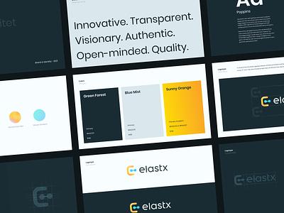 Elastx Brandbook colors logo branding brand cloud dark minimal web ui design