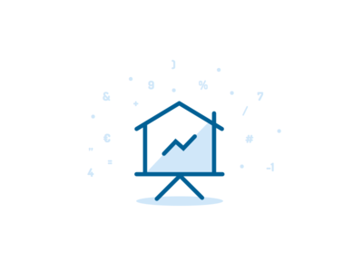 House + Stats = Icon? chart blue flat numbers design vector logo wip stats statistics house icon