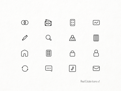 Real Estate Icons - V.1 real estate test sketch material client wip mail house outline minimal icons design