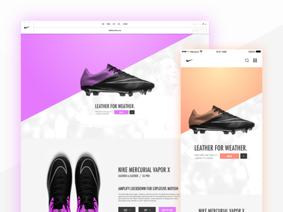 Nike Website - Product daily ui product football iphone ui responsive design mobile app ipad web nike
