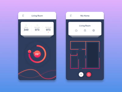 Home Monitor App daily ui ux ui minimal widget web mobile gradient cards app monitor home