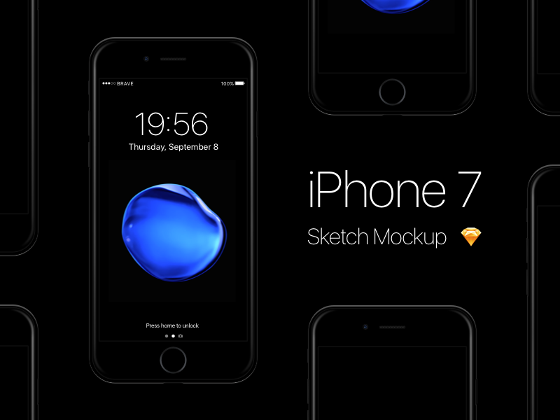 Free iPhone 7 - Jet Black Sketch Mockup ios 10 iphone 7 ios apple mobile freebie free mockup black jet 7 iphone