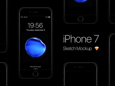 Free iPhone 7 - Jet Black Sketch Mockup ios 10 iphone 7 ios apple mobile freebie free mockup black jet 7 iphone