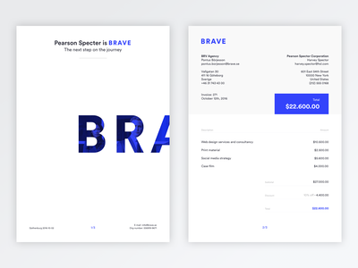 The Brave Invoice minimal flat simple paper layout sketch design payment print clean brave invoice