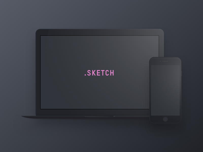 Download Dark Devices – Free Sketch Mockup