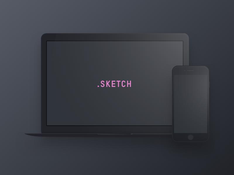 Dark Devices – Free Sketch Mockup