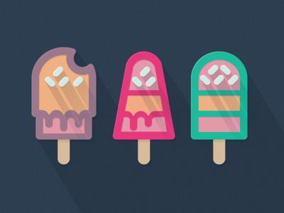 Flat Ice Creams design flat icon ice cream long shadow simple icons sweet