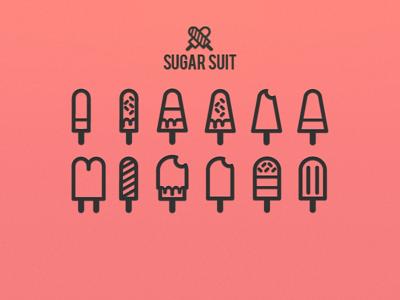 Sugar suit icon collection simple pictogram kit icon collection sugar sweet ice-cream stroke pack