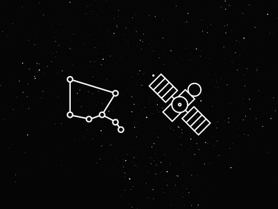 Satellite Jason & Ursa Minor  icon monogram ursa minor constellation satellite jason stroke set