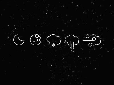 Winter`s coming... icon monogram stroke set pictograms weather winter moon rain snow wind windy