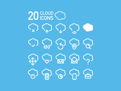 20 Cloud Icons cloud icons set stroke arrow mail inbox business    wireless free freebie vector