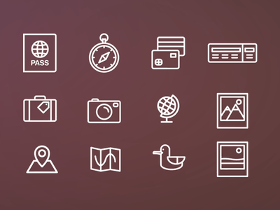 Travel icons pack  freebie icons pack stroke travel free vector icon pictogram clean seagull ticket