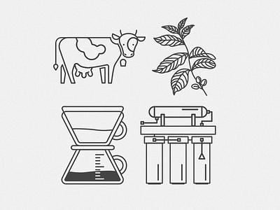 Clark's Coffee icons pictogram icon milk water filter coffee plant bean coffeemaker animal cow monogram