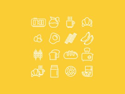 Good Morninig Icons icon icons set flat stroke breakfast food egg bread milk toast doughnut