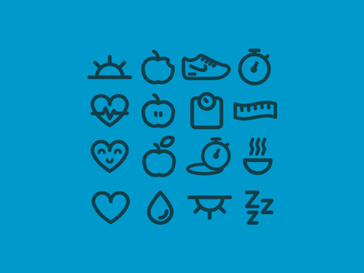 Eat Well Icons icon icons set flat stroke nike sneaker apple fitness health free freebie