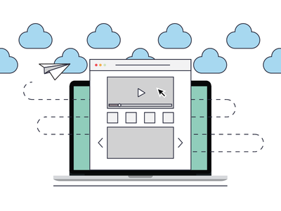 Landing page flat icon landing page cloud stroke free freebie web macbook illustration vector