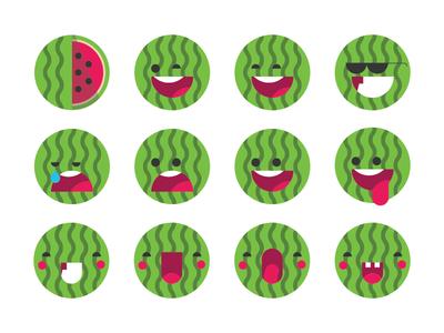 Watermelon Emoji Set