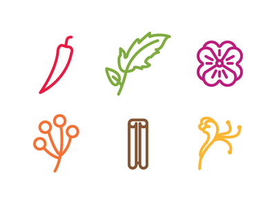 Winefolly Iconography vector flower icons acacia honeysuckle pack leaf chili set stroke cinnamon violet