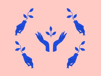 Hand Pattern 01 pink pattern cobalt blue hand vector