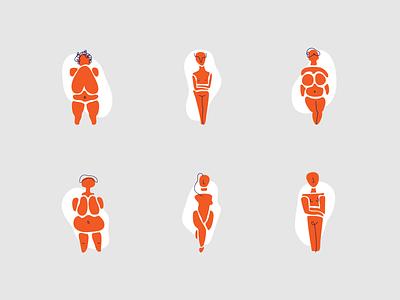 Girls vector design drawing minimal illustration abstract body bodies art cycladic body positivity modernart statue women girls