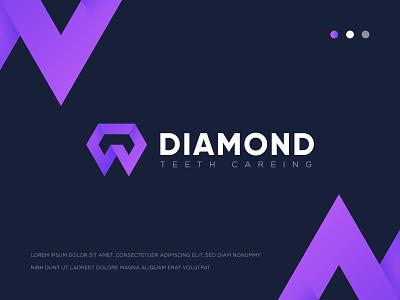Dental Logo - Diamond Teeth Careing minimal logo branding gradient logo teeth logo dental logo vector logo logo design