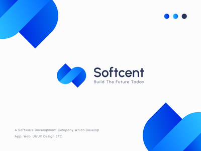 Softcent - Letter S Logo minimal clean minimal logo letter mark logo brand logotype brand identity software company logo s logo letter logo gradient logo logo branding logo design