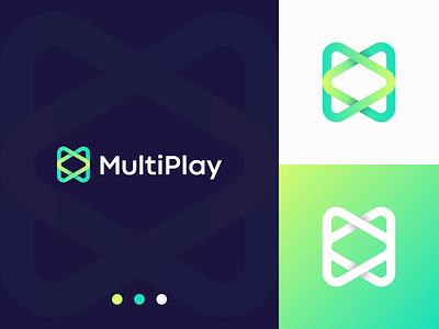 MultiPlay - Logo Design brand identity play logo modern logo app icon app logo abstract logo gradient logo logo branding logo design