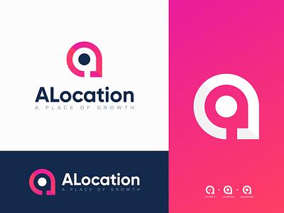 ALocation - Logo Design agency logo website logo app logo abstract logo concept logo clean logo letter a logo location logo gradient logo modern logo logo branding logo design