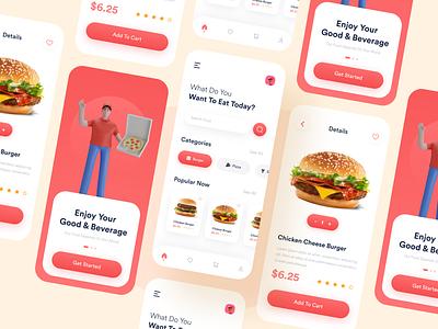 Fast Food App Design food mobile app burger app delivery app food and drink resturent app food delivery app mobile app design fast food app food app app design ui design
