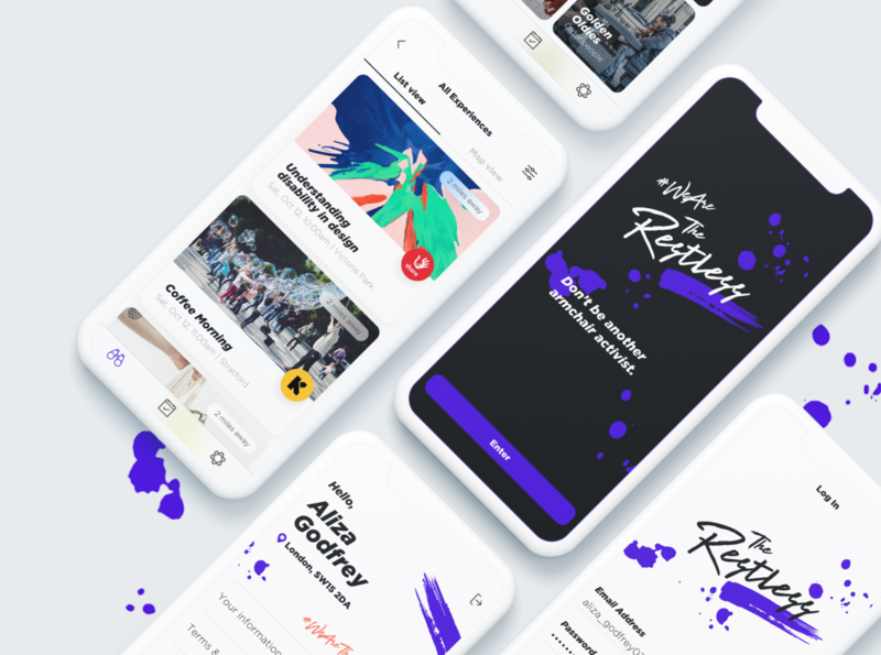 The Restless app typography branding app design ux design ui design design