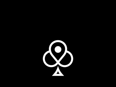 Clover Poker Cards minimal typography app branding flat web icon vector logo illustration design