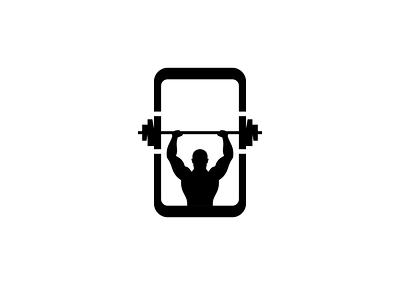 fitness by phone. app flat logo vector illustration design branding
