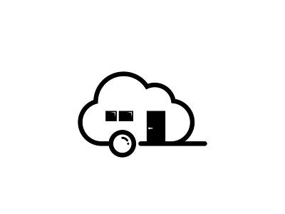 cloud caravan icon minimal illustrator logo vector illustration design branding
