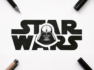 Star Wars art darth vader star wars illustration letters type typography handlettering lettering